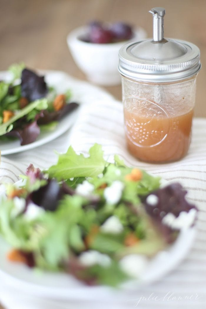 raspberry vinaigrette recipe in mason jar with salad