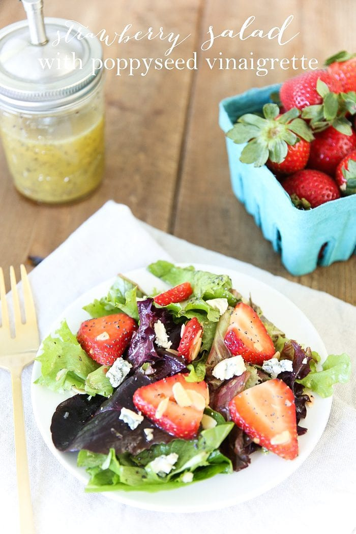 Easy and refreshing strawberry salad with a vinaigrette poppy seed dressing. It's a classic go-to summer salad perfect for any occasion!