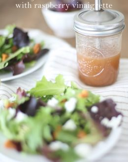 Incredibly light and flavorful summer salad with raspberry vinaigrette. Make the dressing from start to finish in less than a minute!