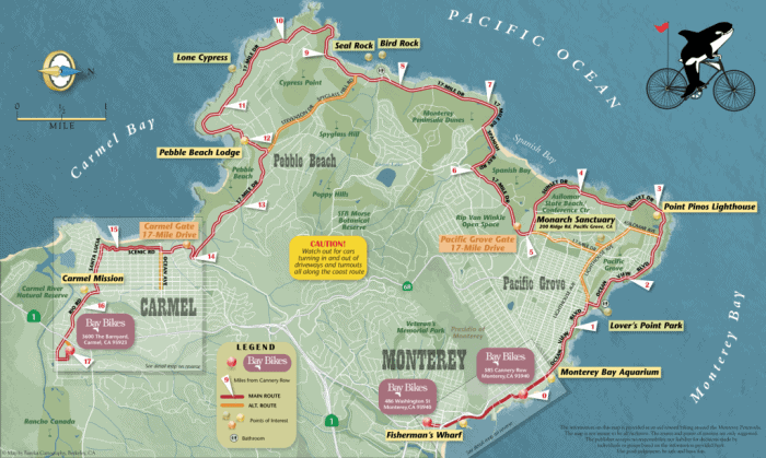 4 days in Monterey | map of 17 mile drive