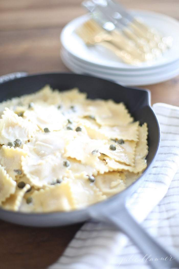 White Wine Lemon Caper Sauce | Summer Ravioli recipe in just 10 minutes!