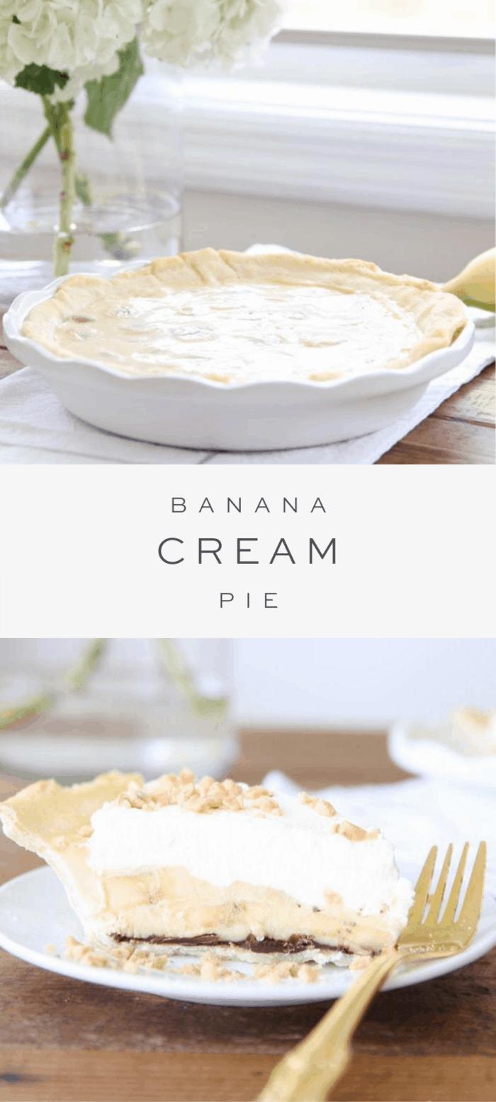 banana cream pie sitting on the counter with flowers, overlay text, overlay text, slice of banana cream pie