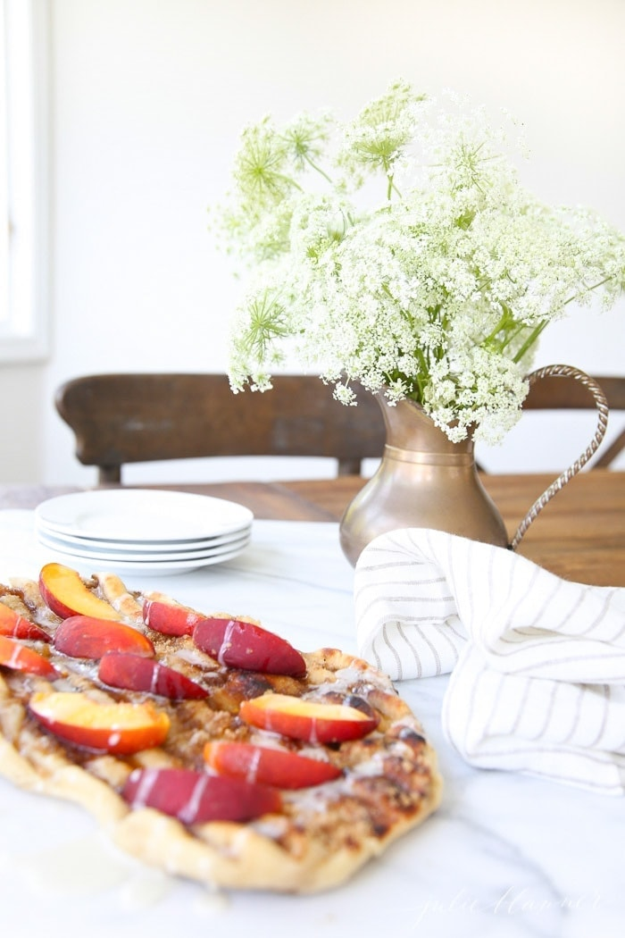 Incredible Peach Dessert Pizza on the grill or in the oven