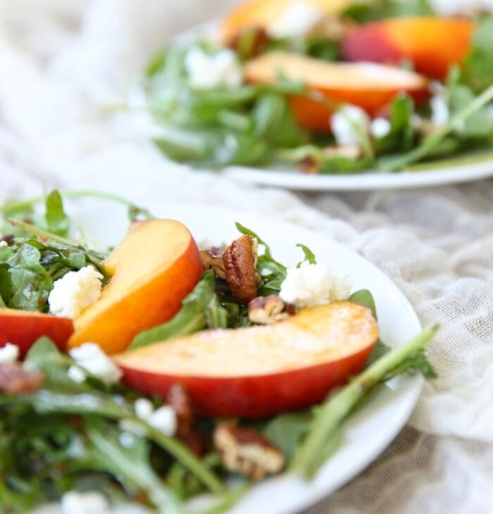 Summer Peach Salad with Honey Dijon Vinaigrette