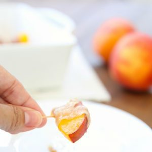 Easy 3 ingredient summer appetizer - Prosciutto Wrapped Peaches in Brown Sugar