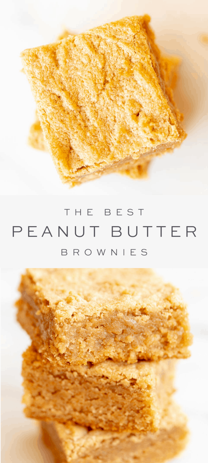 peanut butter brownies, overlay text, stack of peanut butter brownies