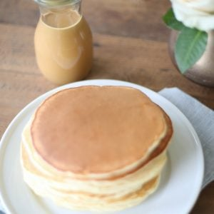 Thick pancakes with peanut butter syrup recipe