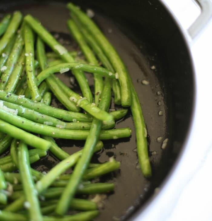Easy green beans in shallot butter sauce