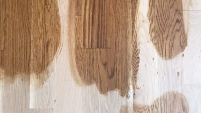 Choosing wood floor stain color on white oak | golden brown and special walnut