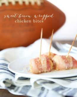 Sweet and Spicy Bacon Wrapped Chicken Wraps - the perfect party appetizer and they're so easy to make!