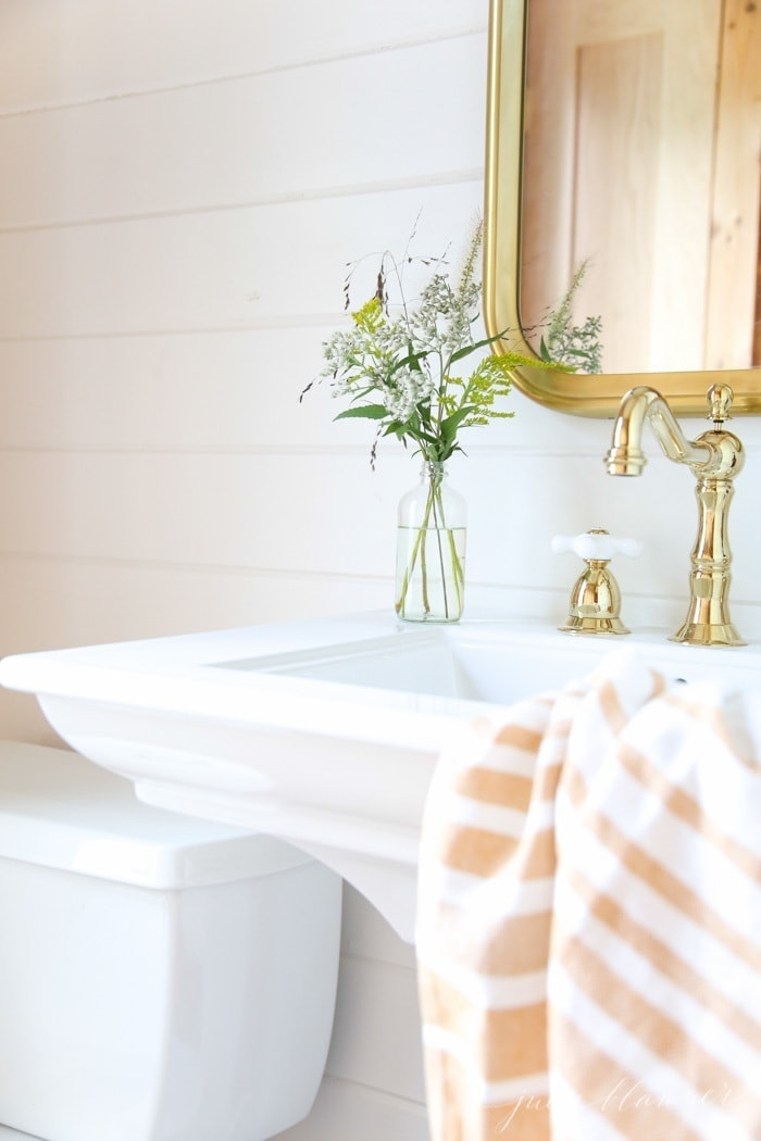 beautiful half bathroom ideas with brass and pedestal sink