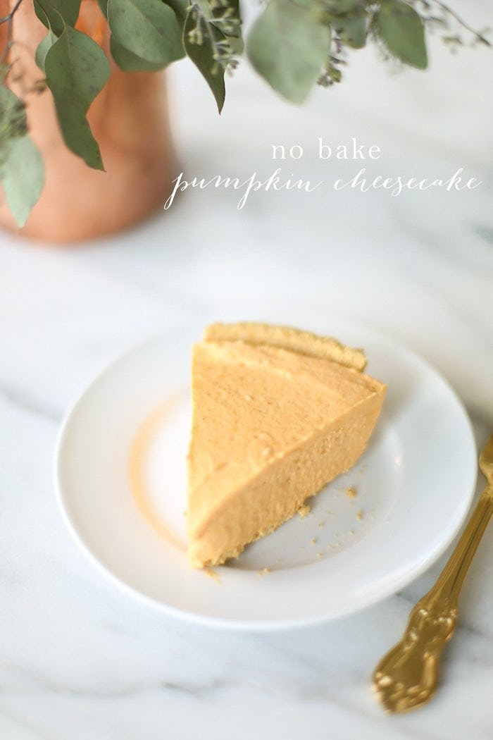 no bake pumpkin cheesecake on white plate with text overlay