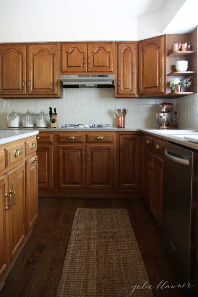 A Simple Kitchen Makeover without Paint on white stained kitchen cabinets, stained kitchen cabinets before and after, grey stained kitchen cabinets,