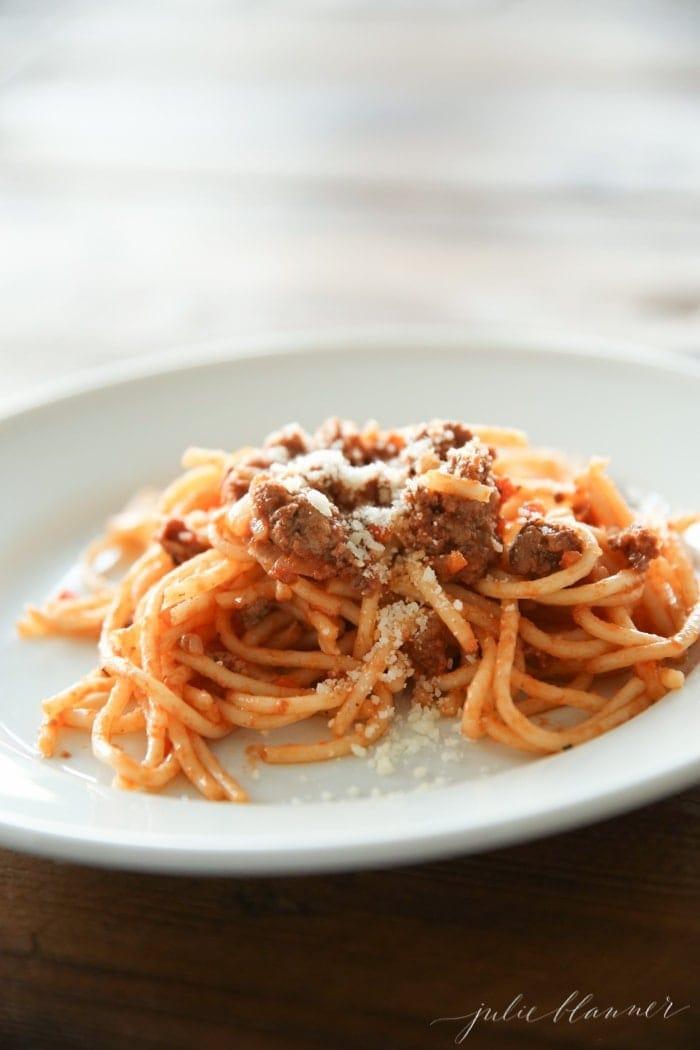 Bolognese sauce recipe on julieblanner.com