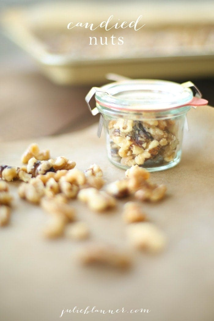 Easy candied nuts in a jar and on parchment