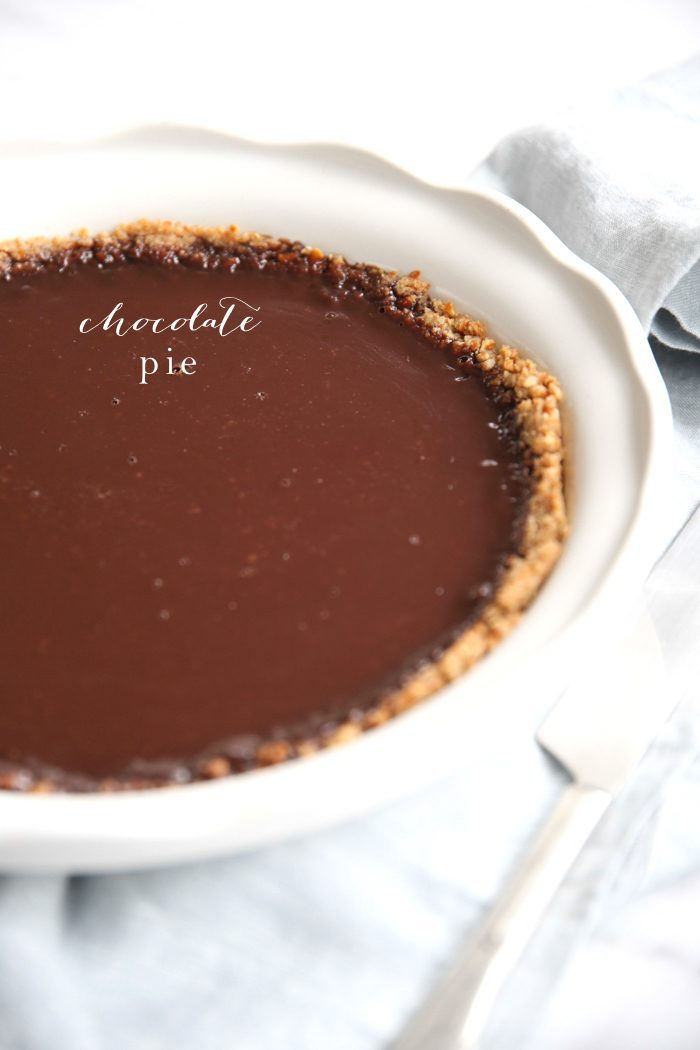 chocolate pie in white baking dish with text overlay