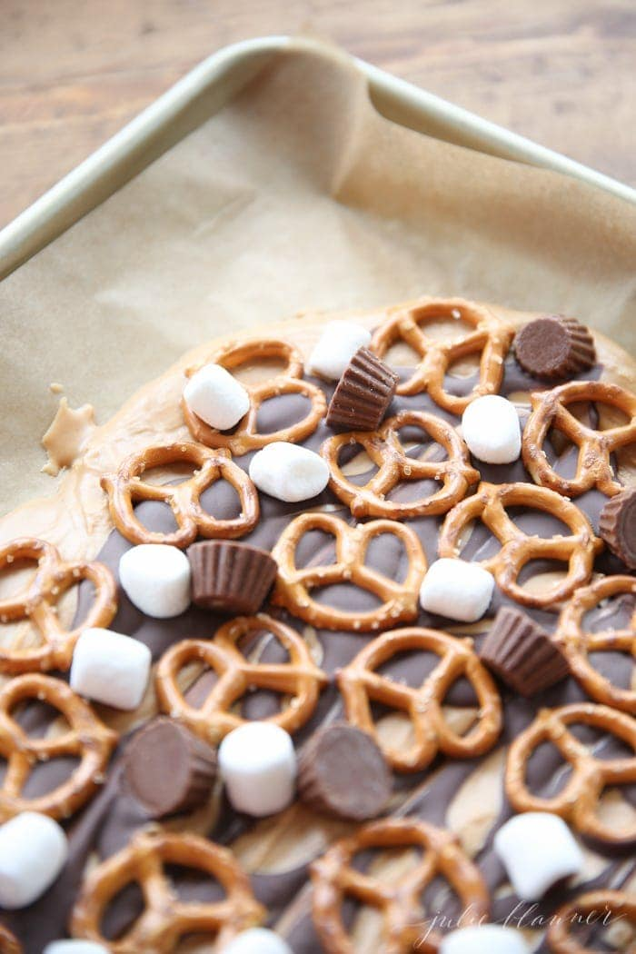 Use leftover Halloween candy to make easy peanut butter bark
