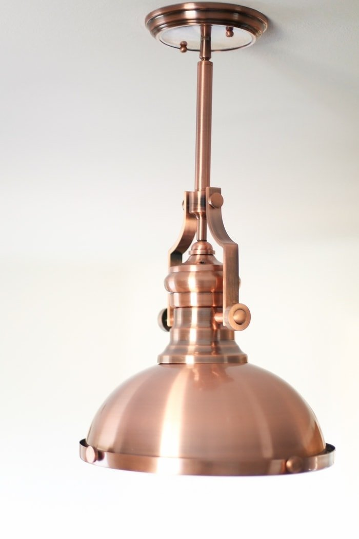 copper light fixture for kitchen