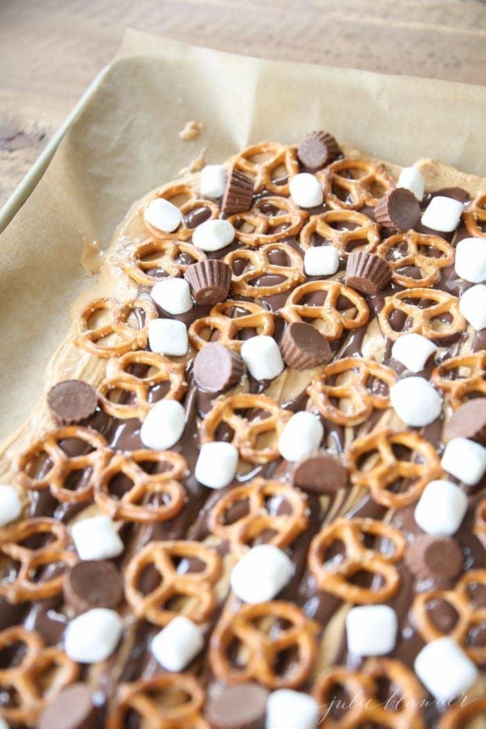 5 ingredient no fuss Peanut Butter Bark recipe