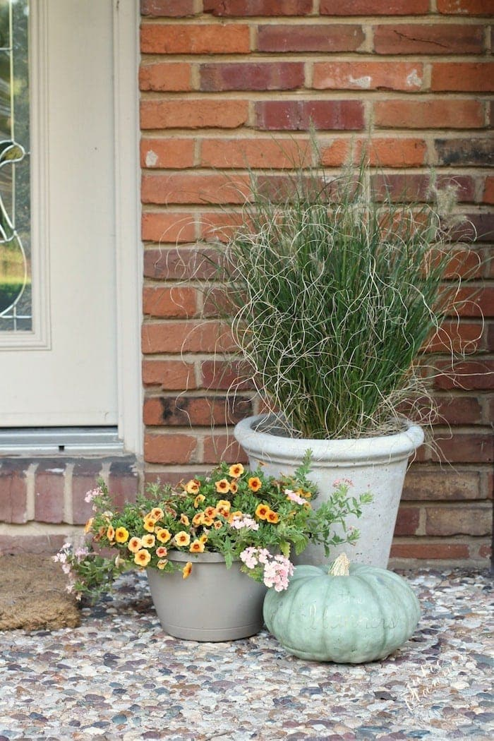 Simple fall porch decor with grasses, flowers and a pumpkin
