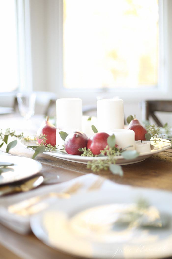 Thanksgiving table setting & Last Minute Thanksgiving Centerpiece - Julie Blanner
