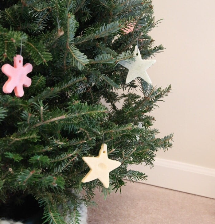 christmas tree decorated with color salt dough ornaments