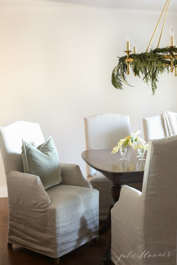 neutral Christmas dining room with simple decorations