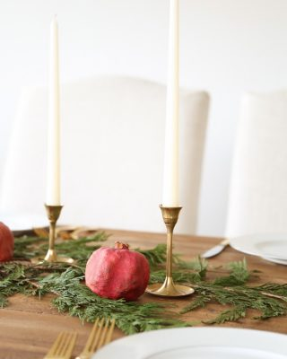 Christmas table setting and centerpiece