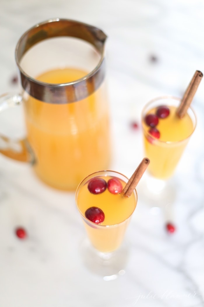 Easy 3 ingredient Christmas cocktail - a sparkling sangria