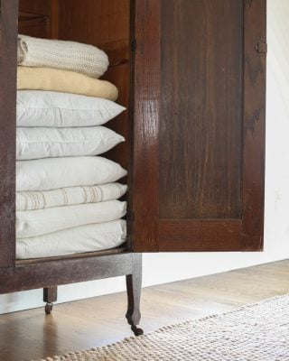 Living room organization - linen closet
