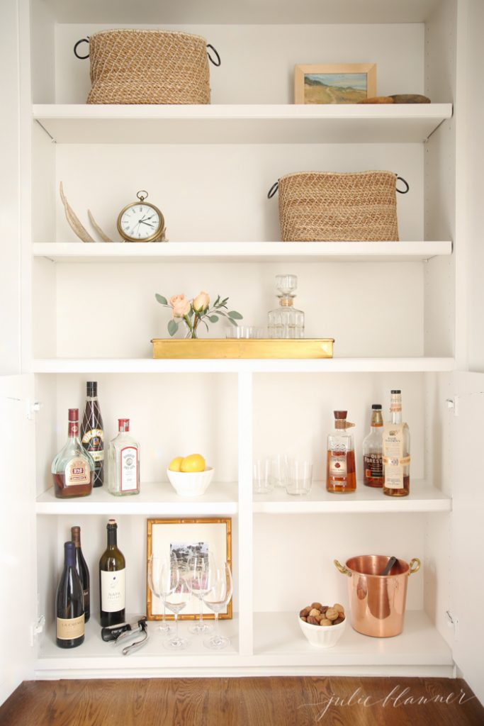 Get organized - convert a cabinet into an at home bar