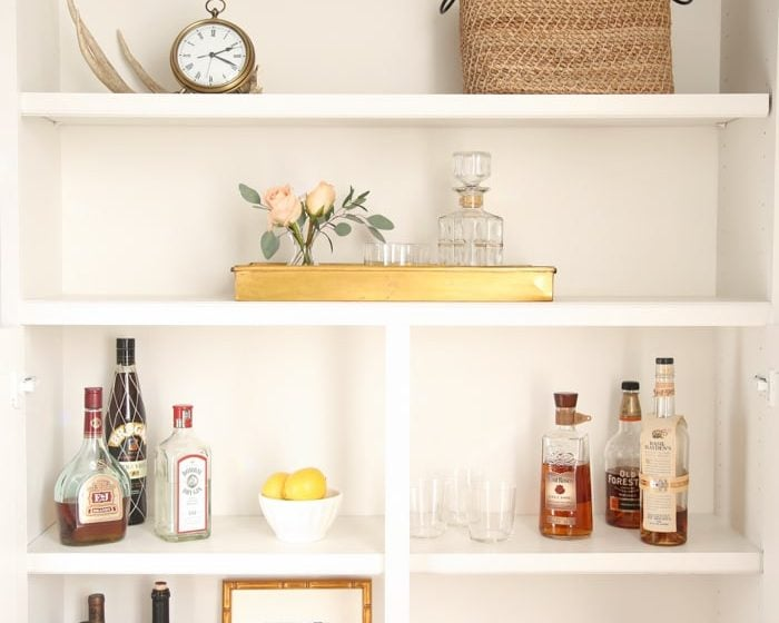 Beautiful bar cabinet in a built in bookcase