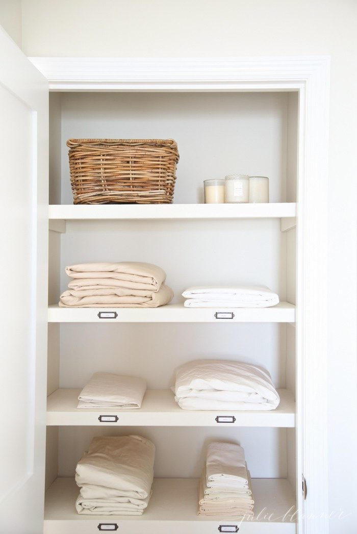 How to organize a hall linen closet