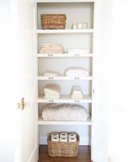 Organize a hall closet with these easy tips from home blogger Julie Blanner