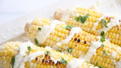 Mexican Street Corn on a platter