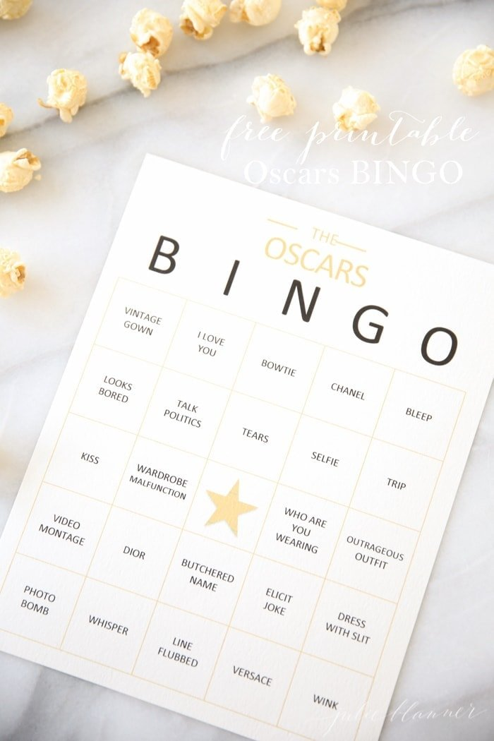 Host an Oscars party with this fun game of bingo!