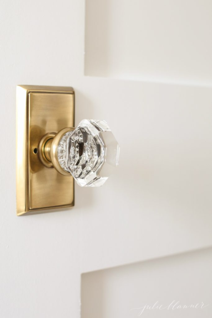 Beautiful ways to update/decorate your hall | crystal door knobs and shaker doors