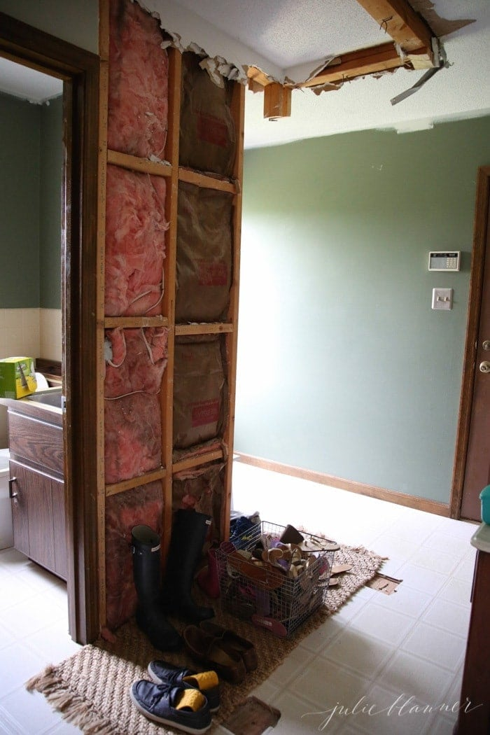 Not Long After We Moved In Chris Took A Sledge Hammer To The Tiny Coat Closet Doors Kept Falling Off It Was Far Too Small Accommodate Coats And