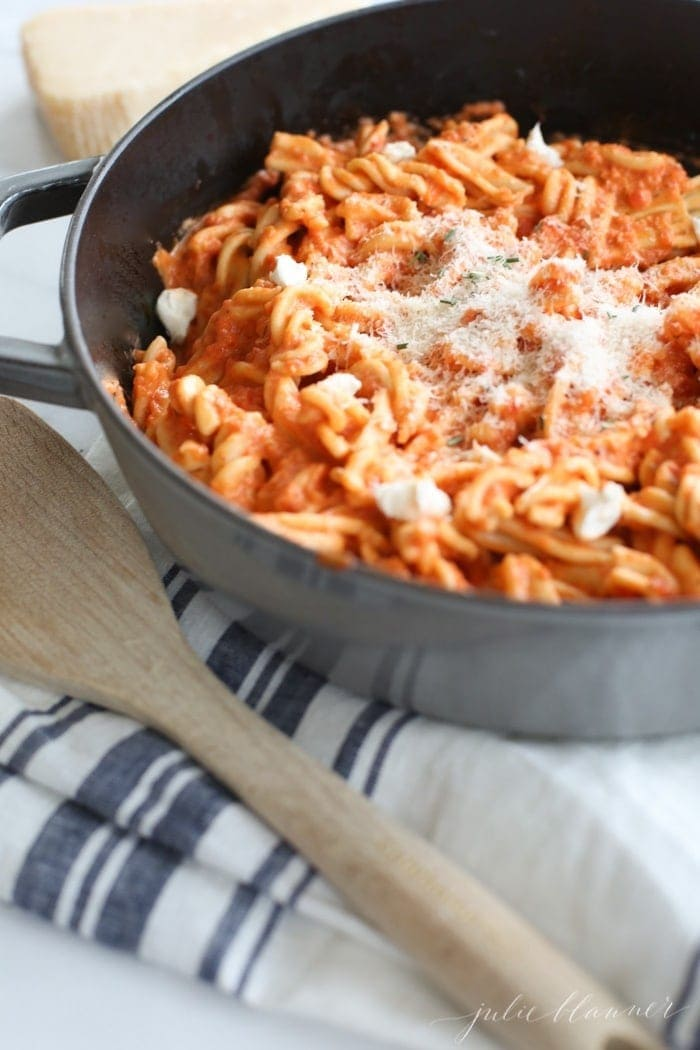 Close up of vodka sauce with pasta