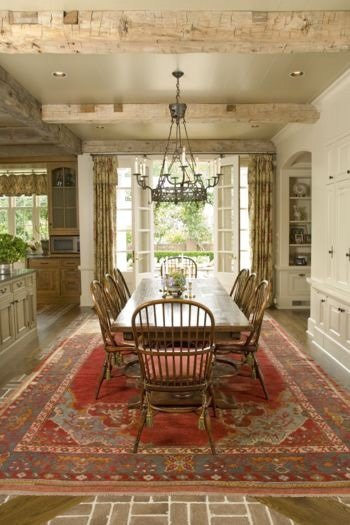 beautiful breakfast room with painted ceiling