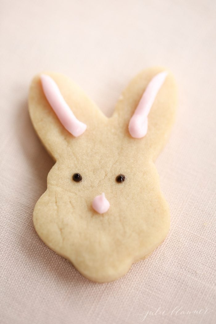 butter shortbread cookies recipe cutout in the shape of a bunny