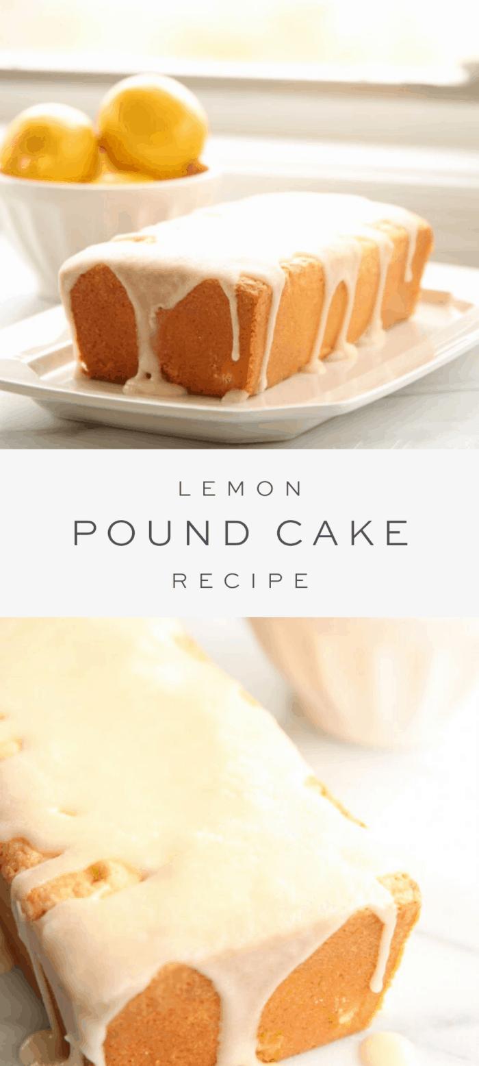 lemon pound cake on a platter, overlay text, close up of lemon pound cake