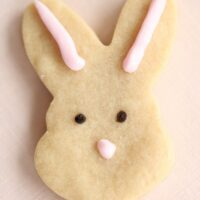 3 ingredient butter shortbread cookie recipe cutout in shape of a bunny