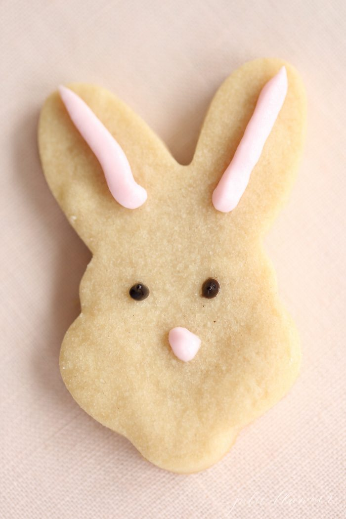 3 ingredient shortbread cookie recipe cutout in shape of a bunny