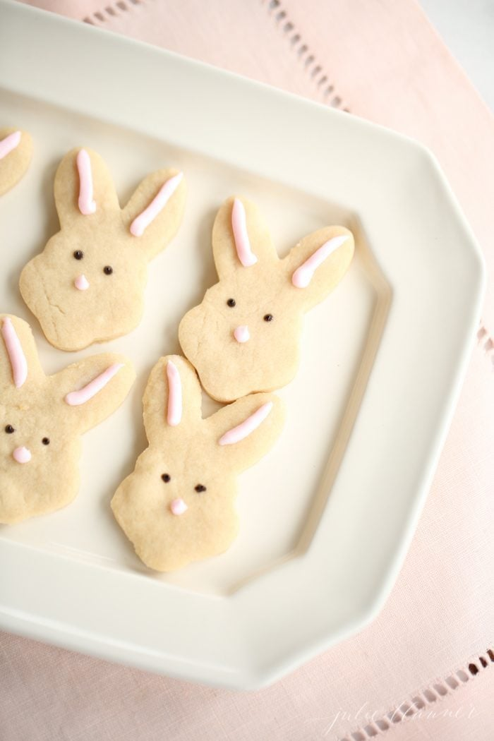 bunny butter shortbread cookies on white platter