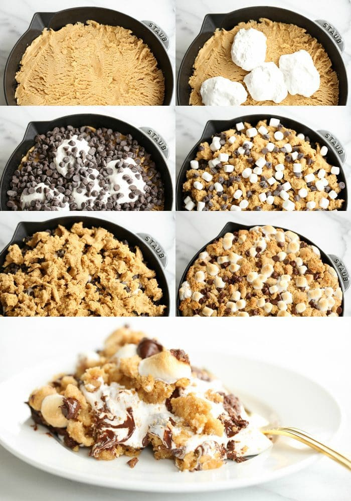 peanut butter s'mores pie in a skillet - crazy good dessert recipe