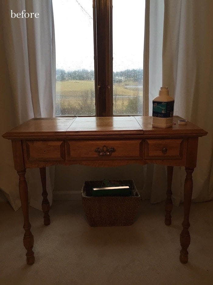 A vintage wooden desk waiting for paint in a Craigslist search furniture makeover