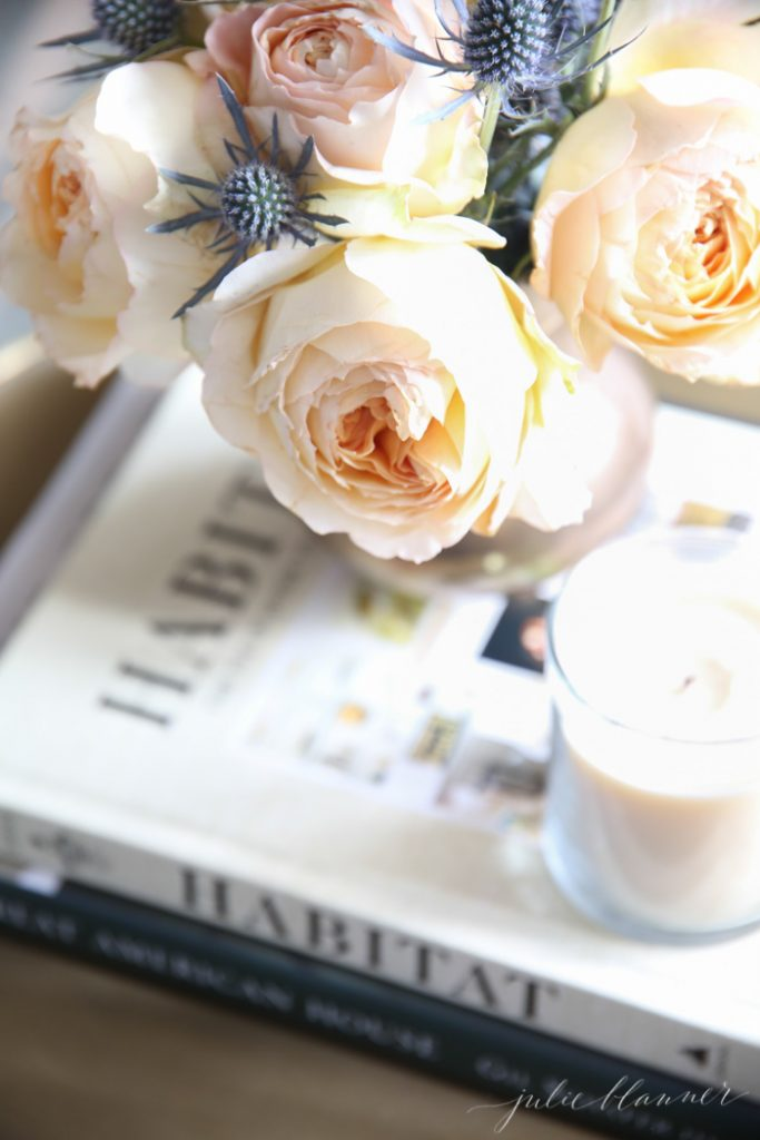 favorite coffee table books and thistle and roses