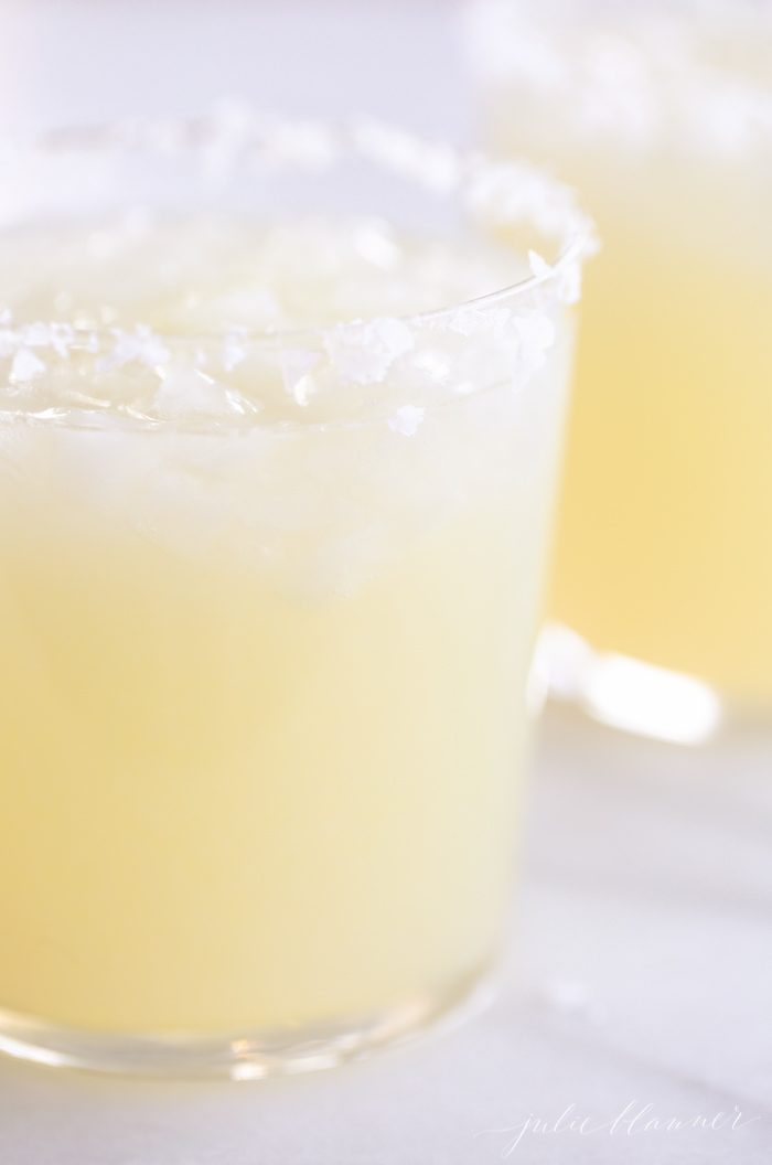 homemade margarita with salted rim