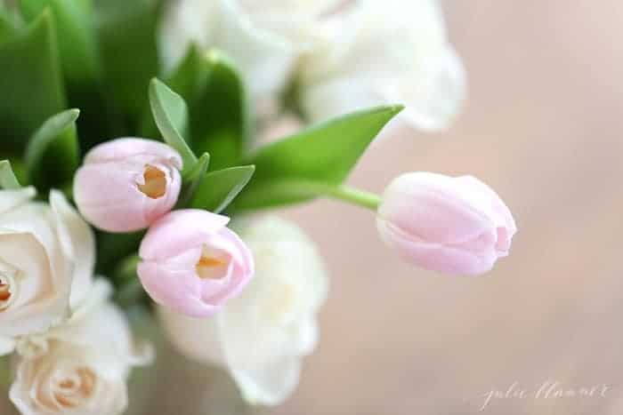 Arrangement of pink tulips and white roses.